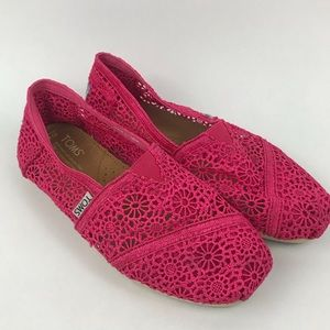 Toms slip on pink open lace shoes
